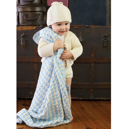 Appalachian Baby Design Hello Baby Collection Knit Kit: Campbell Blanket - Blue-Natural (BLUE)