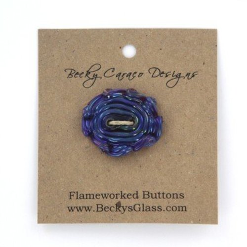 Becky Caraco Designs Flameworked Buttons - Brown, Black, Green Swirls (L170)