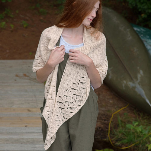 Berroco Rockport Shawl Kit - Birch - Model (1)