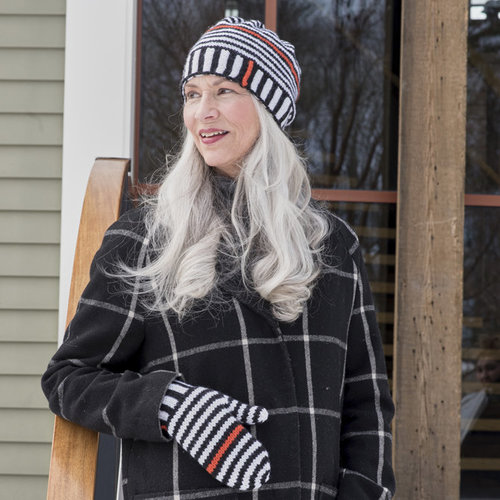 Berroco Ups and Downs Stripe Hat & Mittens PDF -  ()