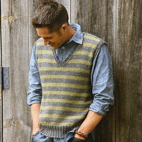 Blue Sky Fibers Men's Striped Vest PDF - Download (MSVPDF)