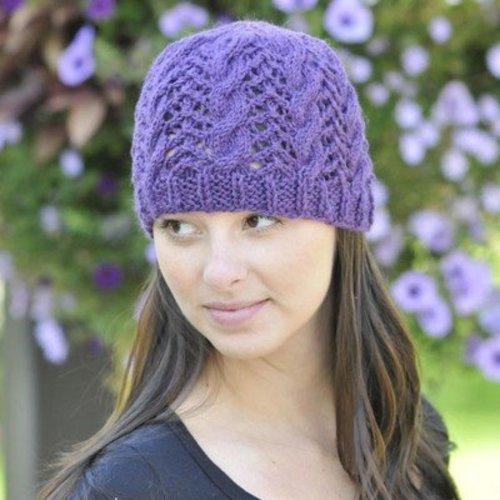 Cascade Yarns W308 Cascade 220 Heather Lace and Cable Hat (Free) -  ()