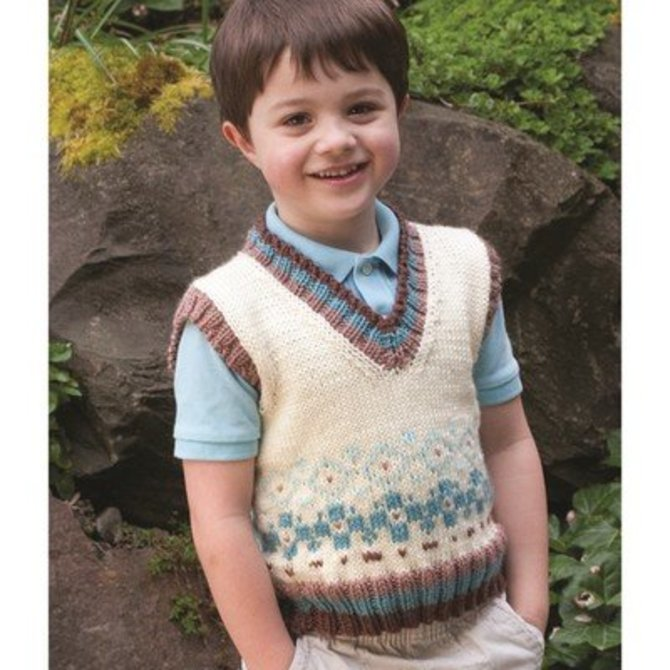 Cascade Yarns W356 Dressing For Style In Fair Isle His Vest Free