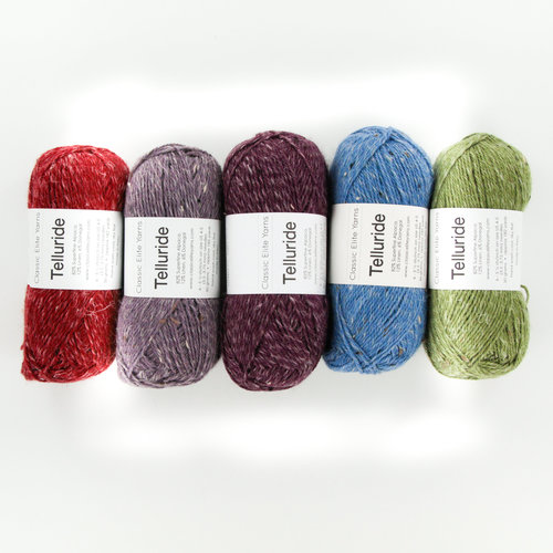 Classic Elite Yarns Lucky Clover Cowl Kit - Purples, Lime, Red, Blue (29022)