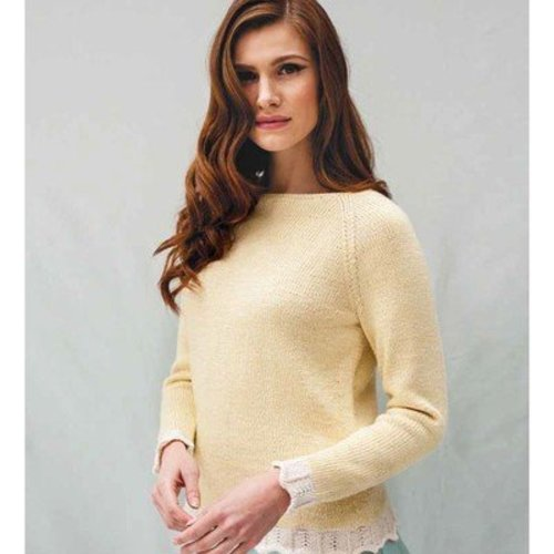 Debbie Bliss Raglan Sweater with Chevron Edging PDF -  ()