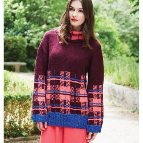 Debbie Bliss Tartan Detail Sweater PDF -  ()