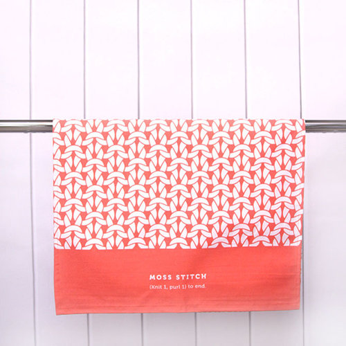 Debbie Bliss Tea Towel - Coral - Moss Stitch (CORAL)