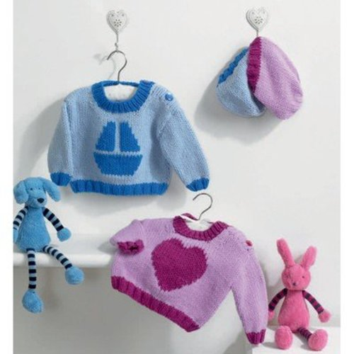 Euro Lily and George Sweaters with Matching Hats PDF -  ()