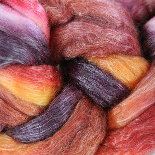 Frabjous Fibers 50/50 Merino Tencel Dyed Top - Moulin Rouge (MOULIN)