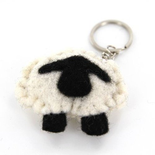 Frabjous Fibers Sheepish Keychain - Black Body With Grey Face & Feet (BLACKGREY)
