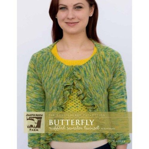 Juniper Moon Farm Butterfly Ruffled Sweater Twinset - The Pondicherry Collection - Printed (BUTTERFLY)