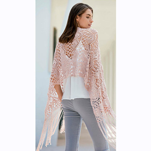 Katia CPT-60 Crocheted Shawl Kit in Versailles - 85 (Model) (01)