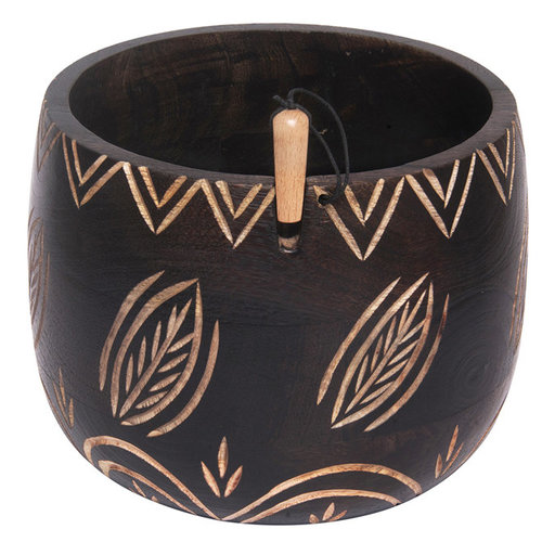 Knitter's Pride Wooden Yarn Bowl - Leafy (LEAF)