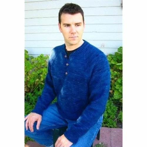 Knitting Pure & Simple 255 Henley Neck Down Pullover For Men -  ()