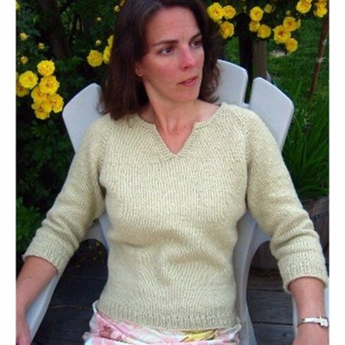 Knitting Pure & Simple 257 Split Neck T-shirt For Women -  ()