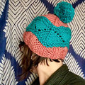 Knitting School Dropout Summit Hat Kit - Turquoise-Coral (Model Color) (1)