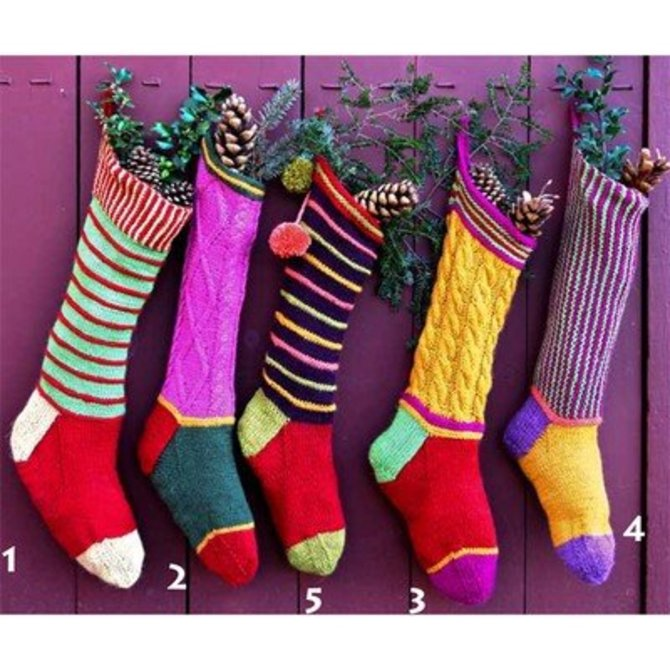 Knitted Christmas Stockings.Colorful Christmas Stockings Pdf