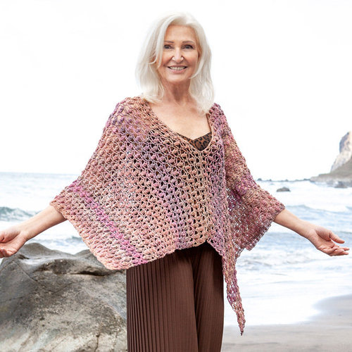 Lana Grossa 03 Crocheted Poncho in Gomitolo Summer Tweed PDF -  ()