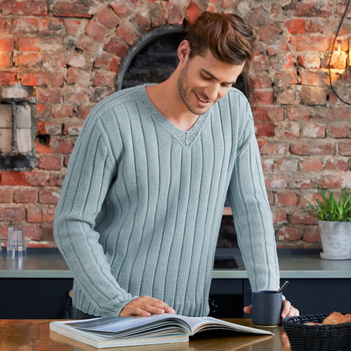 Lana Grossa 05 Men's Pullover in Cool Wool Big PDF -  ()
