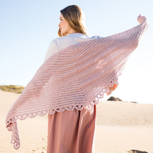 Lana Grossa Design 01 Triangular Shawl Kit in Cashmere 16 Fine - Model (01)