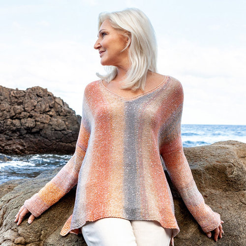 Lana Grossa Design 11 Pullover Kit in Gomitolo Summer Tweed - Multi (1)