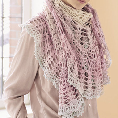 Lana Grossa Semicircle Shawl Kit in Shades of Merino Cotton - Model (01)