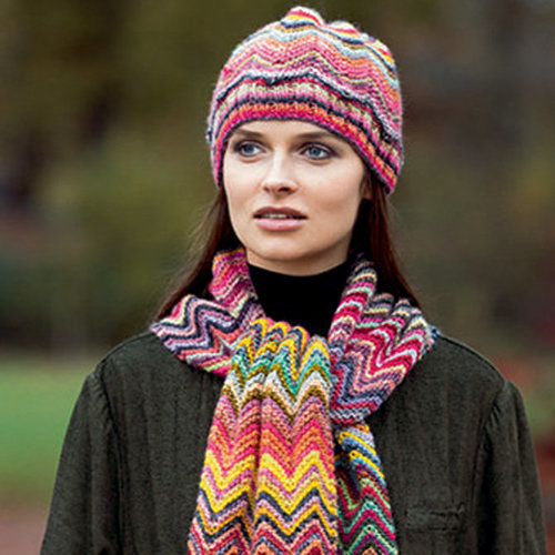 Lang Viva Zig Zag Hat and Scarf Kit - Model (01)
