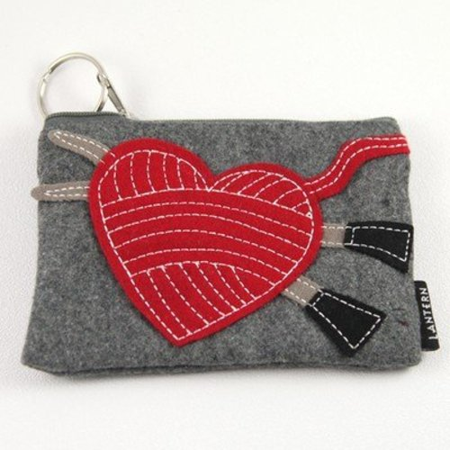 Lantern Moon Stitch Red Felt Keychain Clutch -  ()