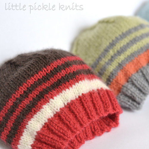 Little Pickle Knits 4-Ply Stripe Beanie PDF -  ()