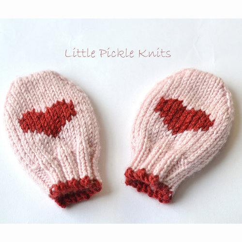 Little Pickle Knits Little Hearts Baby Mitts -  ()