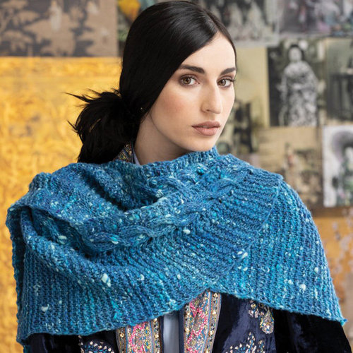 Noro 1711 Simple Cabled Shawl Kit - Model (01)