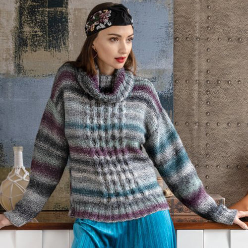"""Noro 1502 Turtleneck Pullover Kit - 42"""" Yarn Only (07)"""