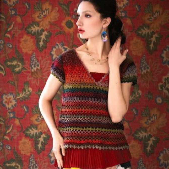 Noro Yarn Free Crochet Patterns : Noro Crochet V-Neck Top PDF at WEBS Yarn.com
