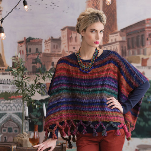 Noro Fringed Poncho Kit - Model (01)