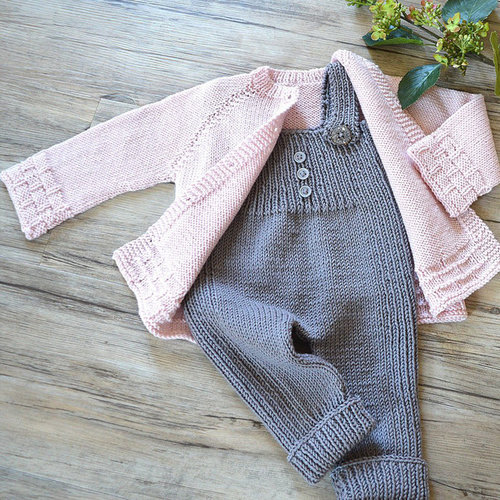OGE Knitwear Designs P116 Tiny Tots Top Down Cardigan and Overalls PDF -  ()