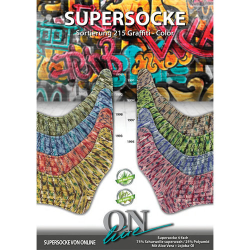 On-Line Supersocke 100 4-Ply Graffiti Color (with Aloe) -  ()