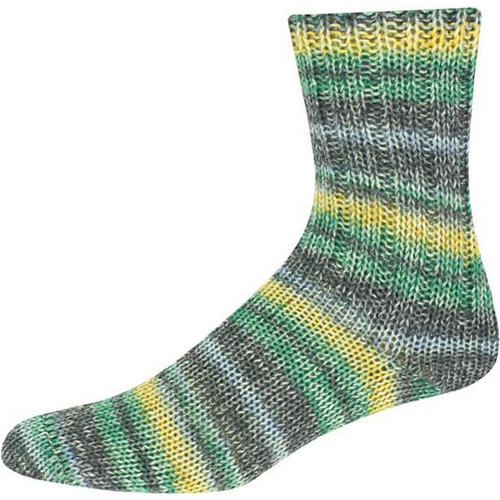On-Line Supersocke 231 6-Ply Jeans Vintage w/ Aloe - Charcoal-Green-Yellow (2103)