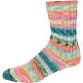 On-Line Supersocke 232 4-Ply Bambus Color - Teal-Peach-Neon Yellow-Pink (2110)