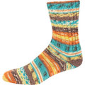 On-Line Supersocke 232 4-Ply Bambus Color - Turquoise-Orange-Gold-Dk Brown (2112)