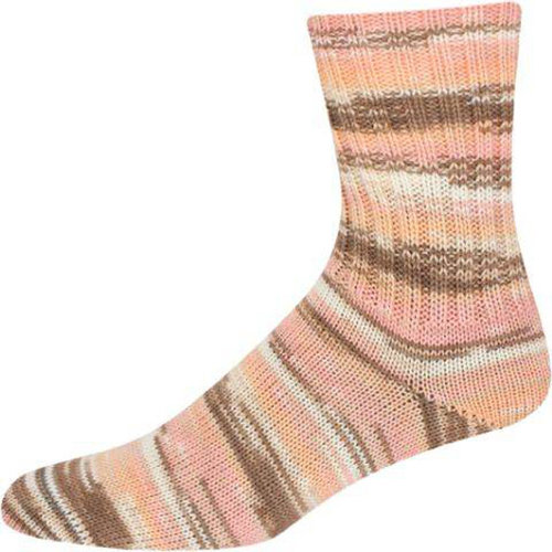 On-Line Supersocke 233 4-Ply Silk Color - Pale Pink-Lt Brown-White (2115)
