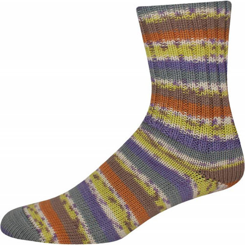On-Line Supersocke 256 4-Ply Silk Color - Green-Blue-Purple-Orange-Brown (2275)