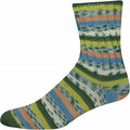 On-Line Supersocke 256 4-Ply Silk Color - Green-Blue-Orange (2277)