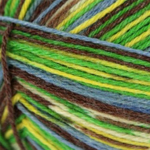 On-Line Supersocke 4-Ply Samba Color - Green, Yellow, Brown, Blue (1817)