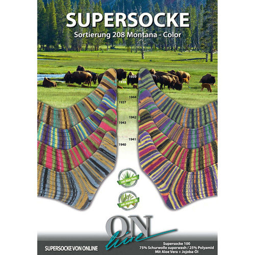 On-Line Supersocke Montana Color - Light Green, Blue, Orange (1939)
