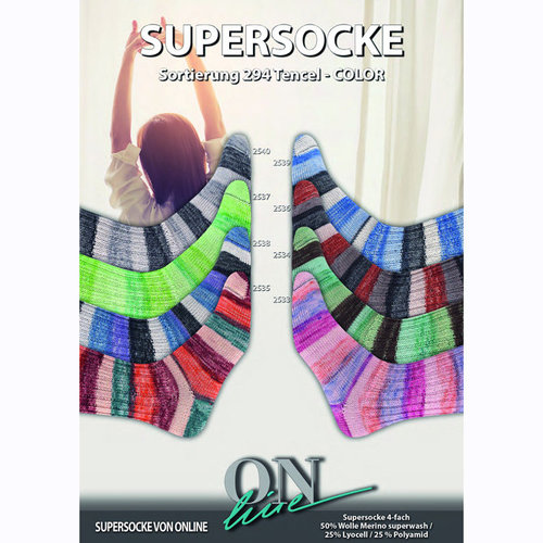 On-Line Supersocke Tencel Color - Tan, Green, Brown (2534)