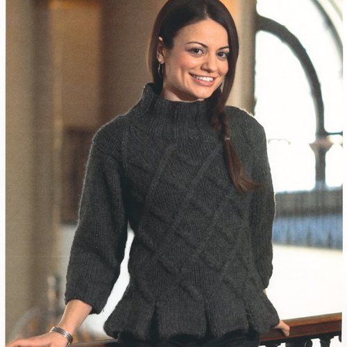 Plymouth Yarn 2115 Woman's Lattice Pullover with Peplum -  ()