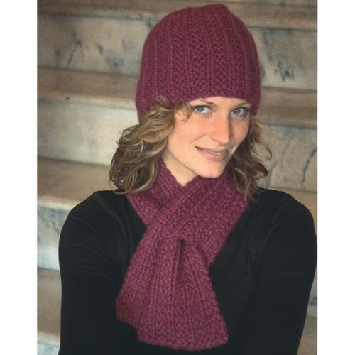 Plymouth Yarn 2117 Keyhole Scarf and Hat Set -  ()