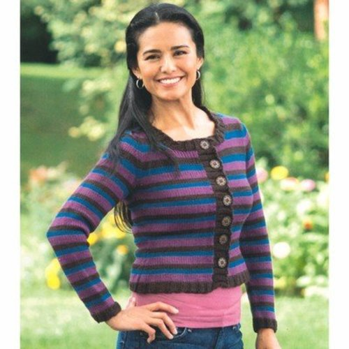 Plymouth Yarn 2279 Woman's Double Striped Cardigan -  ()
