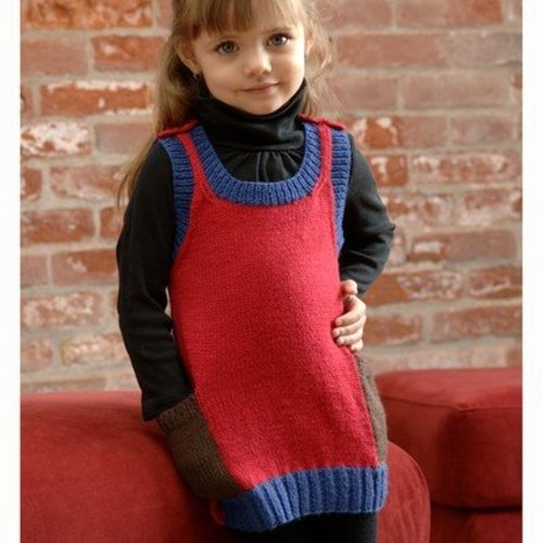 Plymouth Yarn 2554 Girl's Colorblock Dress (Dreambaby DK) -  ()