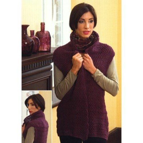 Plymouth Yarn 2695 Zig-Zag Shawl Collar Vest -  ()